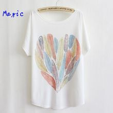 [Magic] newest style thin plus size loose batwing sleeve women's short sleeve t-shirt print tees womens t shirt 29 models free(China (Mainland))