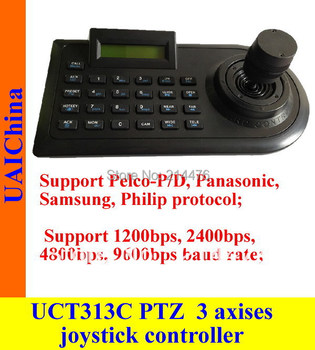 3 axises joystick PTZ controller, keyboard. Support Pelco-P/D protocol;1200bps;2400bps,4800bps,9600bps