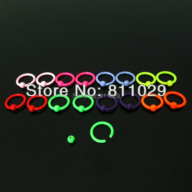 free shipping Hot Fashion Charm Gauges BCR piercing neon colors 40pcs 16G 3mm surgical Stainless Steel captive ring(China (Mainland))