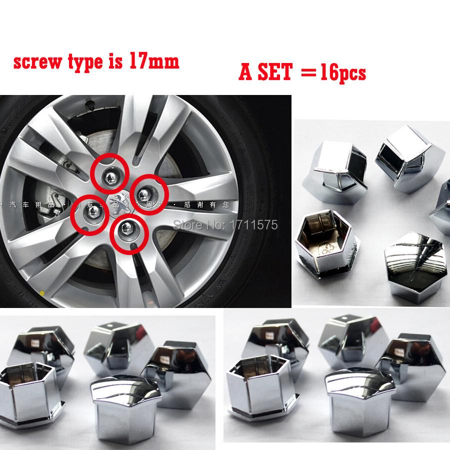 Гаджет  16PCS/A Set 17mm Plating Wheel Screw Cap/Decorative Cover for Peugeot 301 307 2008 3008 308 408 207 Citroen Sega C4L C5 Elysee None Автомобили и Мотоциклы