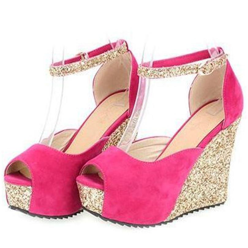ENMAYER women pumps Ankle Strap Peep Toe Round Toe Wedges Platform pumps Glitter fashion sexy shoes pumps size 34-39 2015 new<br><br>Aliexpress