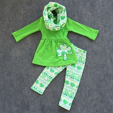 2016  new arival baby girls clothes girls St patrick sets kids 3 pieces with scarf sets girls pants sets(China (Mainland))