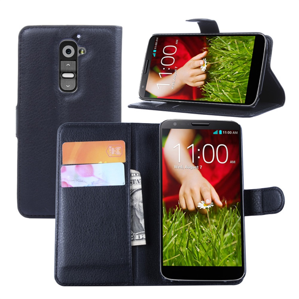 LG G2 Cyboris cover LG G2 D802 Case Flip Lichee Holster PU Leather card slot holders stand function