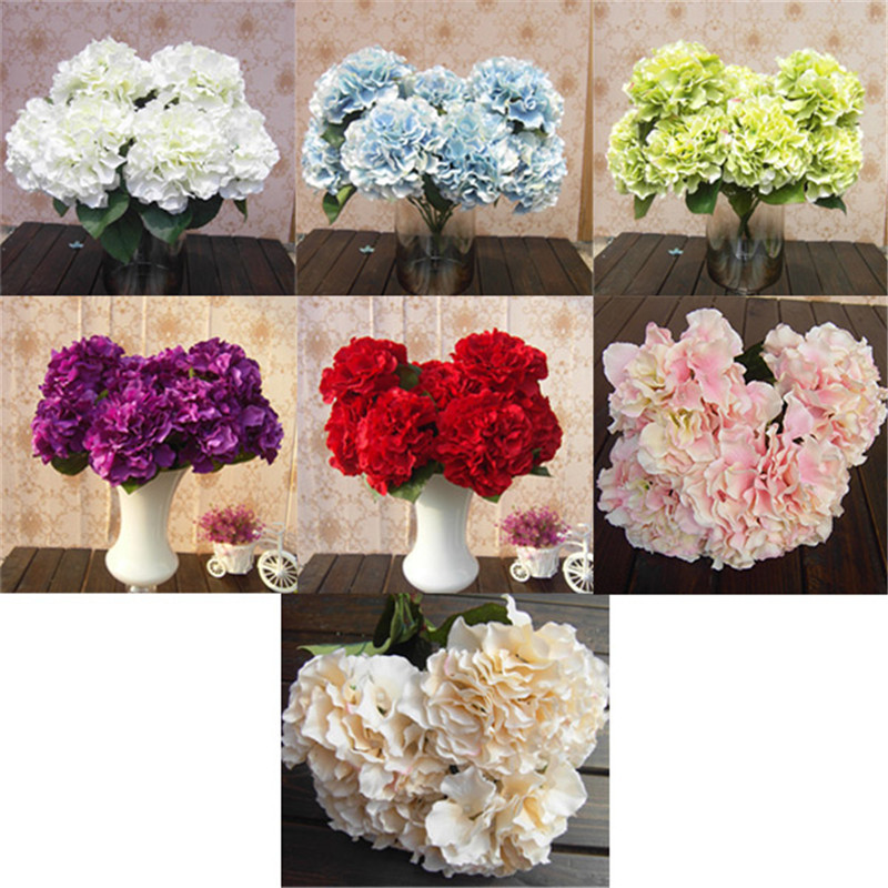 mutli color 5 flower heads artificial silk flower bouquet ho