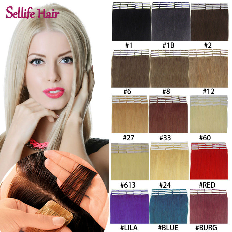 """Top Grade Skin Weft 16""""18""""20""""22""""24""""26""""inch 20 pcs/lot 100% Real Human Natural Straight Hair Remy Tape Hair Extensions 17 Colors"""