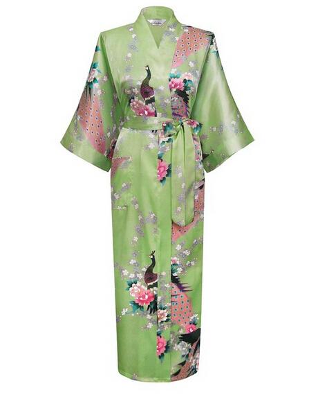 Зеленый мода женщин павлин долго кимоно банный халат ночная рубашка платье юката ...