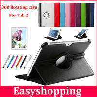 For Samsung Galaxy Tab2 10.1 inch P5100 Tablet 360 Rotating PU Leather Case Cover+Screen Protector Film+Stylus free shipping