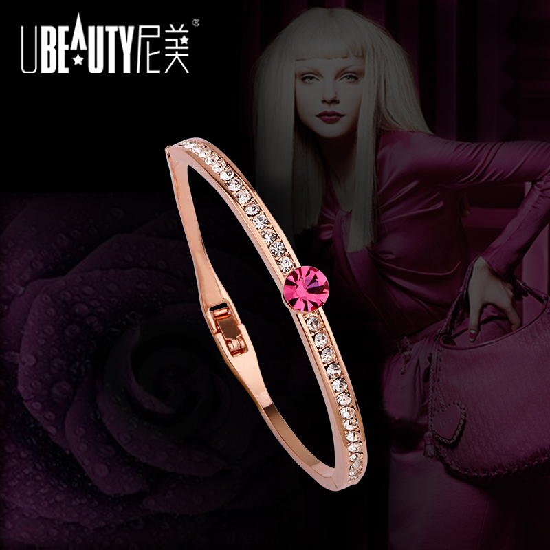 New Arrives Fashion Bangle Pink Crystal /Diamond Rose Gold European Women Bangle bracelete(China (Mainland))