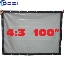 100″ 4:3 Rear Projection Screen Special PVC Soft Curtain with Eyelet for Any Projector Home Theater Outdoor Movie Film