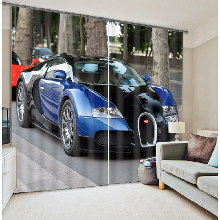 New arrival blue car 3d digital curtain 100% polyester vertical blinds for living room(China (Mainland))