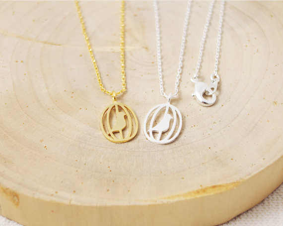 2014 Fashion 18k Gold Bird In The Cage Necklace Pendant Necklace for women gift Free Shipping Wholesale<br><br>Aliexpress