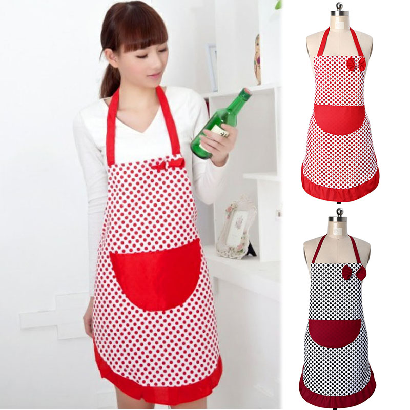 2016 Hot Sale Delicate Cute BowKnot Polka Dot Aprons Kitchen Restaurant Bib Women Cooking Aprons With Pocket Y1S1(China (Mainland))