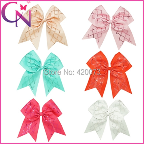 """Free Shipping 30 Pcs/lot 7"""" Sequin Cheer Bow With Clip For Girls,Kids Grosgrain Cheerleading Hair Bows Cheer Bows With Ponytail(China (Mainland))"""