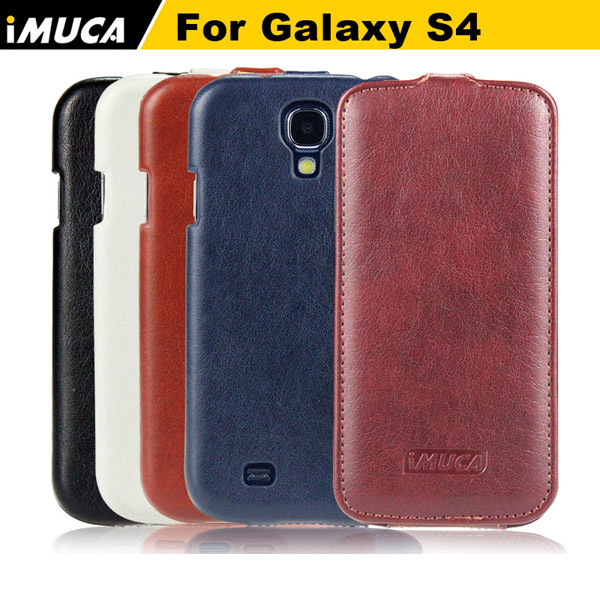 IMUCA Original Cell Phone Cases Cheap New Concise Leather Vertical Flip Cover Pouch For Samsung Galaxy S4 i9500 + Retail Box(China (Mainland))