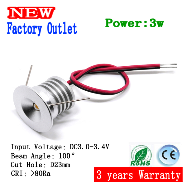 15pcs Mini led downlight 3W cabinet lamp 100D hole 23mm input current 3-3.4V/300-350mA(China (Mainland))