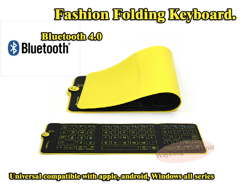 Free Shipping Folding Keyboard Tablet Computer Keyboard Silicone Waterproof Leather Notebook Wireless Bluetooth Keyboard F7(China (Mainland))