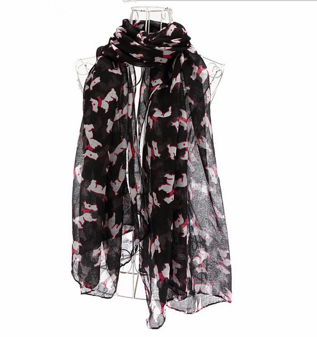 Fashion New Cute Women Dog Scarves Nice Print Animal Shawl Female Dogs Scarf WJ 01(China (Mainland))