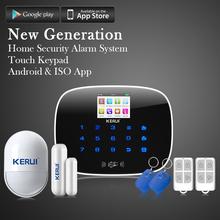 KERUI G19 ios android app GSM home alarm system alarmanlagen door/window sensor open reminder Pet inmune pir detector rfid card