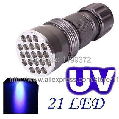 wholesale 100pcs/lot UV Ultra Violet Blacklight 21 LED Flashlight Torch Lamp Light UV 395 nM takes Standard AAA Batteries #DB01(China (Mainland))