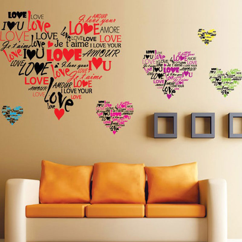 Removable the sweet love literal emoji sticker bedroom for Stickers para pared