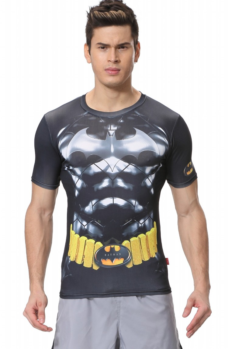 Red Plume Men's Compression Tight Fitness Shirt,Silver Batman Armor Sports T-shirt(China (Mainland))