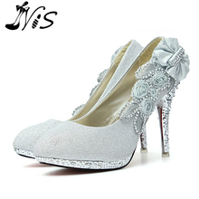 Woman Pumps 2015 Fashion Glitter Gorgeous Wedding Bridal Evening Party Crystal High Heels Women Shoes Sexy  Fashion Bridal Shoes