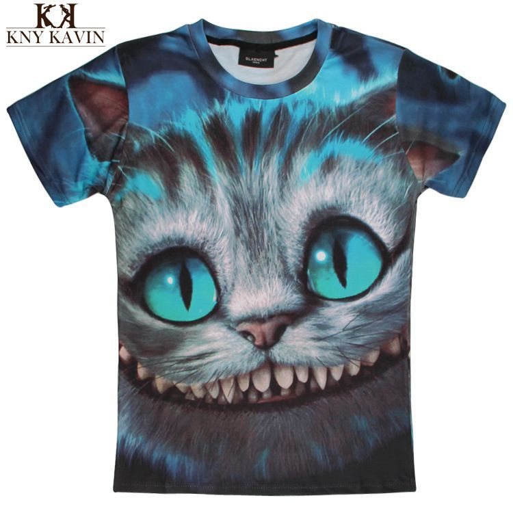 2014 man fashion Two-side 3D animal clothes harajuku tops Cat & Hamsters & Dog & Panda & Elephant & Wolf men t shirt(China (Mainland))