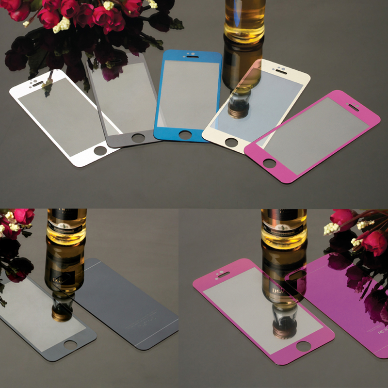 2pcs/lot Front+Back Tempered Glass Mirror Effect Color Protective Film For iPhone 5 5s Full Cover Screen Protector(China (Mainland))