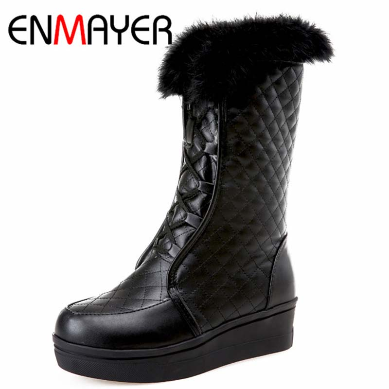 Size 39 Advanced PU Leather Mid Calf Round Toe Height Increasing Lace Up Boots For Women 3 Colors New Fashion Boots(China (Mainland))