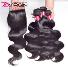 7A Queen Peruvian Virgin Hair With Closure 3 Bundles Peerless Peruvian Body Wave With Closure 8-28inch Human Hair With Closure