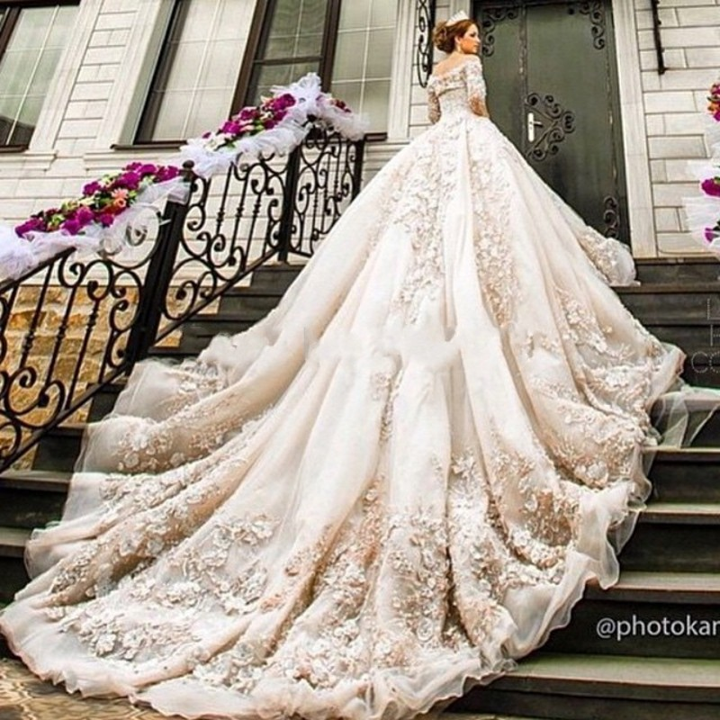 Luxury cathedral royal train ball gown wedding dress 2016 for Long sleeve ball gown wedding dress