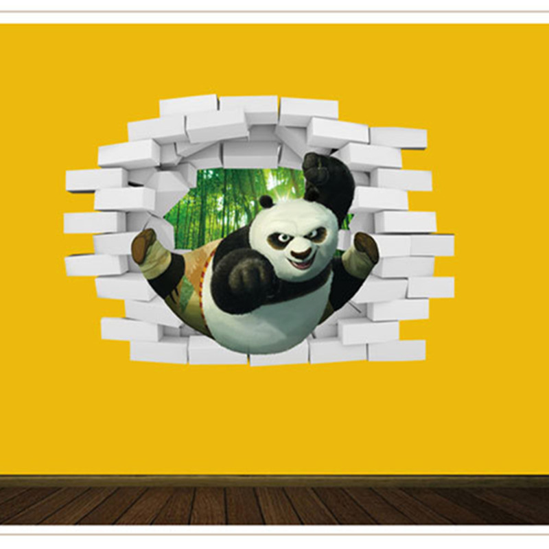 3D Wallpaper Creative Home Decor Kungfu Panda PVC Wall Stickers Child Bedroom Living Ceiling Painting Roofs Room 50x70cm(China (Mainland))
