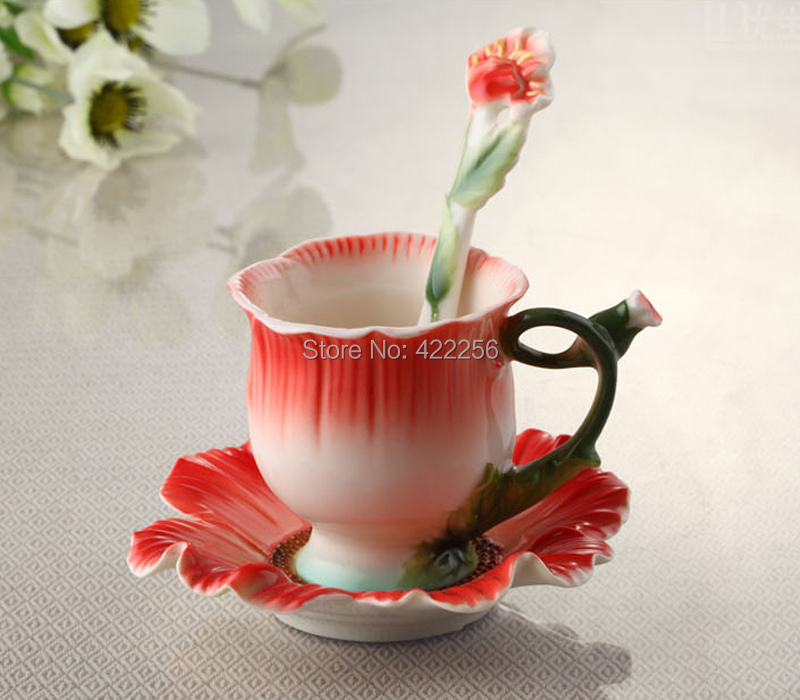 Excellent living porcelain enamel red poppies creative ceramic coffee set Bone china coffee cup dish(China (Mainland))