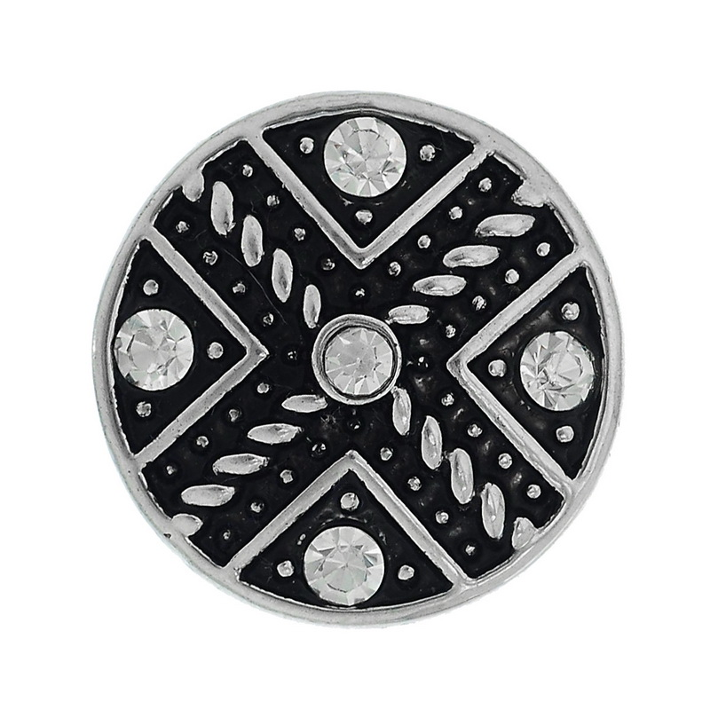 2015 New 1PC Snap Button Fit Snap Button Bracelets Cross White Rhinestone Round 19.5mm(China (Mainland))