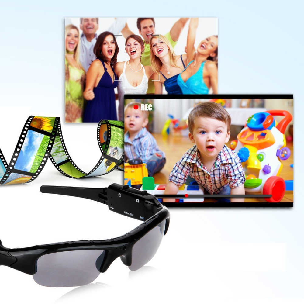 Promotion New PC Sport Sunglasses Mini Camera Digital Video Recorder DV Eyewear Camcorder Audio-TF Camera Sunglasses Gift(China (Mainland))