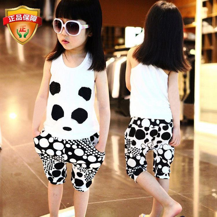 Cheap Baby Girls Summer Clothes Set Panda Vest + Shorts Children Clothing Set Meninas Girl Camisole(China (Mainland))