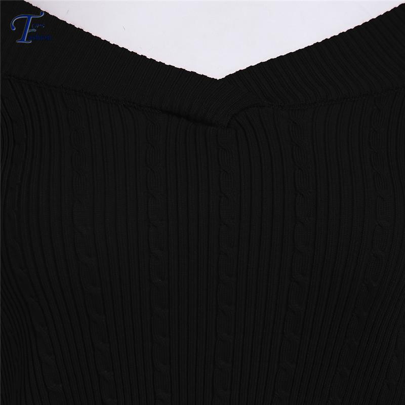 Женщины попадают мода пуловеры горячая распродажа моде перемычки дизайнер новые черный V с длинным рукавом тонкий вязать кадрированные свитер