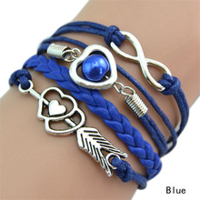 New Fashion Jewelry Women/Girls Multilayer Braided Bracelet With Heart & Number 8 Shape Decorations 9 Colors(China (Mainland))