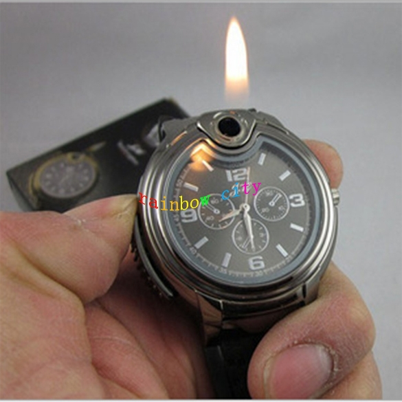 Newest Military Lighter Fashion & Casual Watch Novelty Man Quartz Sports Refillable Butane Gas Cigarette Cigar Men Wristwatches(China (Mainland))