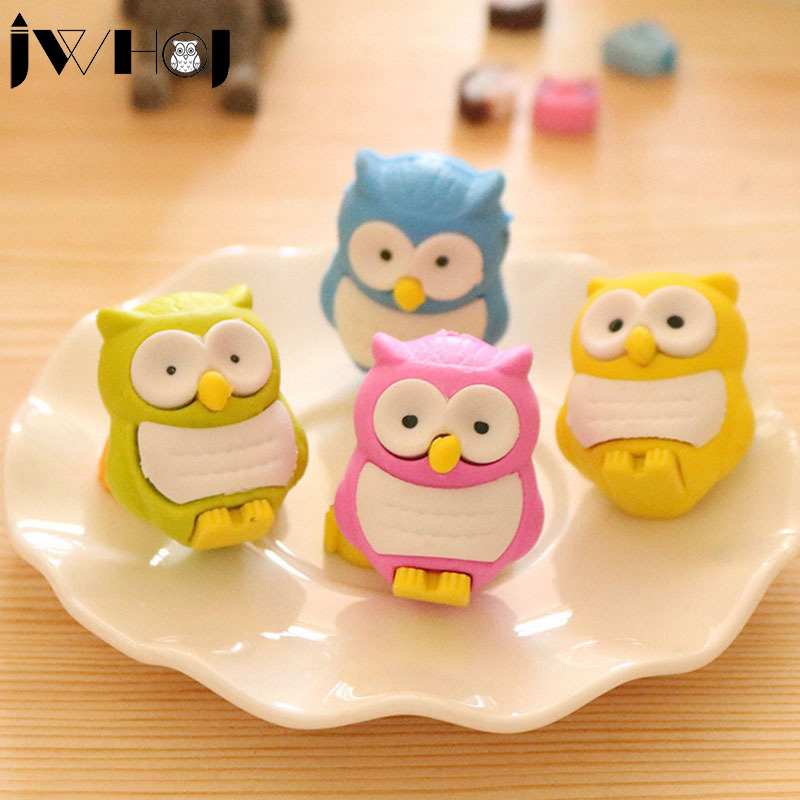 1 pcs JWHCJ novelty 3D owl shape rubber eraser creative kawaii stationery school supplies papelaria gift for kids Free shipping(China (Mainland))