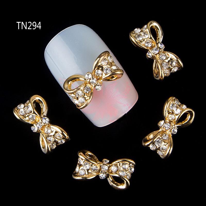 2015 NEW 10 Pcs Gold Hollow Bownot 3D Nail Tools Crystal Rhinestone For Nails Alloy Decoration Nail Art Glitters DIY TN294<br><br>Aliexpress