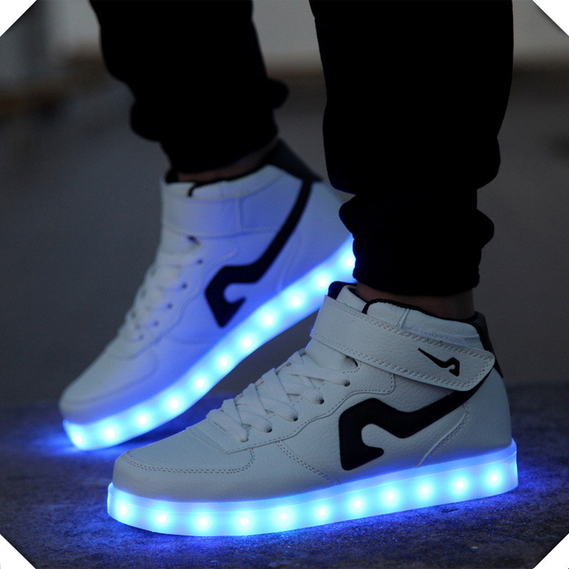 Casual LED solid color mens shoes zapatos hombre lovers casual shoes for adults 2016 NEW LED Breathable fashion pu women shoes