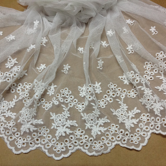 43cm wide (4meters/lot) Ultra Wide Lace Black/beige/white Bridal Wedding Dress/Garment Lace Trim DIY Lace Accessories(China (Mainland))