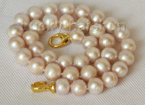 A natural 17 12mm round light pink purple pearls necklace j10155<br><br>Aliexpress