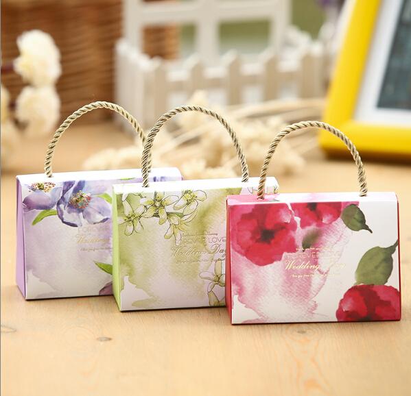 Free Shipping 20pcs/lot High Grand Elegant Handle Candy Bag Flat Delivery DIY Candy Box(China (Mainland))