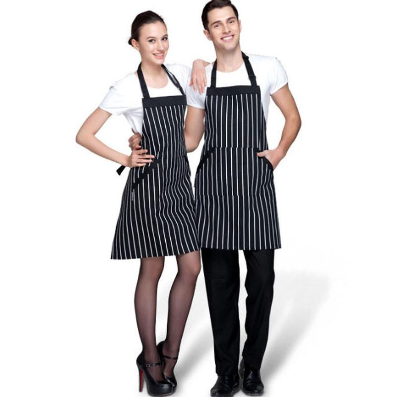 Adjustable Black White Stripe Bib Apron With 2 Pockets Chef Kitchen Cook Tool(China (Mainland))