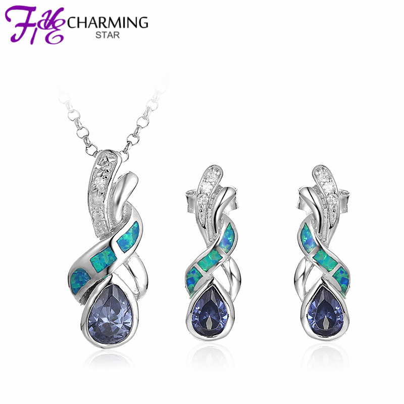 New Summer Style Blue Sapphire 925 Sterling Silver Necklace Pendant Drop Crystal Pandent Earrings OPAL Fire Jewelry S078W<br><br>Aliexpress