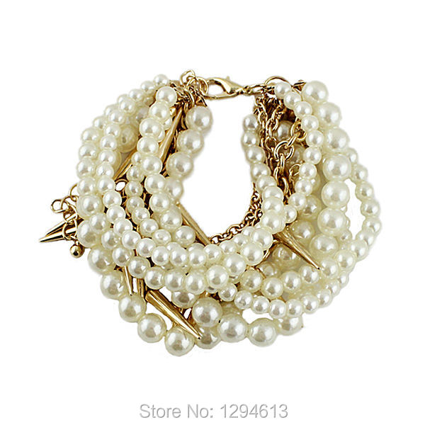 Bohemia Style Simulated Pearl Beads Chains Spike Bracelets and Bangles New 2014 Summer Fashionable Designer Jewelry For Women(China (Mainland))