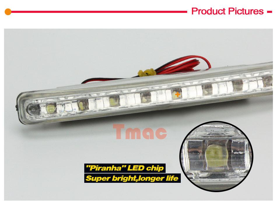 Newest 2Pcs Car Daytime Running Lights 8 LED DRL Daylight Kit parking light 12V DC Head