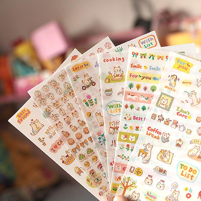 12 sheets/lot cute cartoon cat DIY paper sticker PVC decoration sticker for album scrapbooking diary phone chirldren gift<br><br>Aliexpress